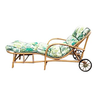 Original Mid-Century Rattan Rolling Chaise With Cushion For Sale