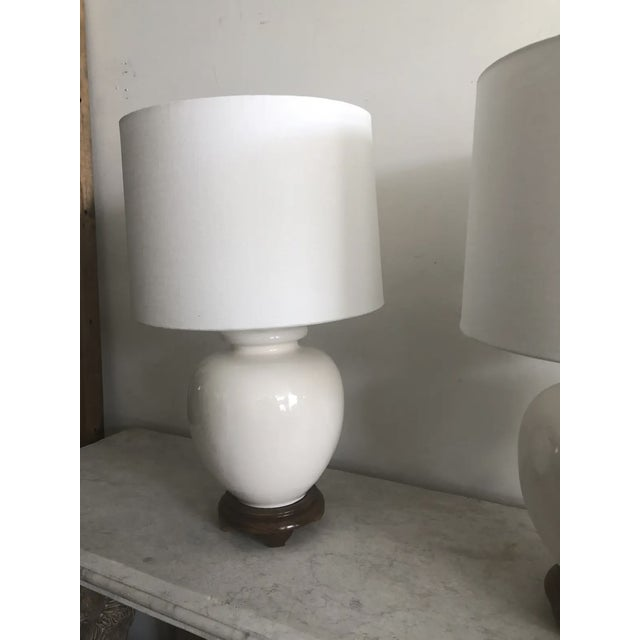 Mid-Century Modern Mid-Century White Ceramic Lamps - a Pair For Sale - Image 3 of 9
