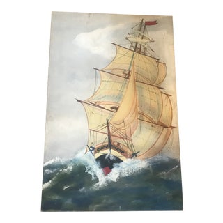 1970s Vintage Nautical Ship Canvas Painting For Sale
