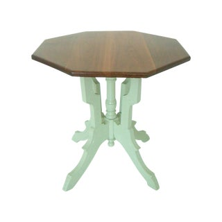 Chic Vintage Victorian Cherry Wood Bistro Dining Table With Lime Spritz Base, Center Table For Sale