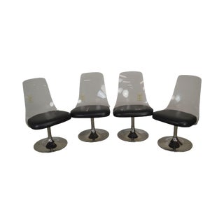 Jansko Mid Century Modern Lucite & Chrome Set 4 Swivel Dining Chairs For Sale