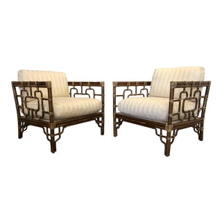 McGuire Marview Asian Inspired Rattan Chairs, a Pair For Sale