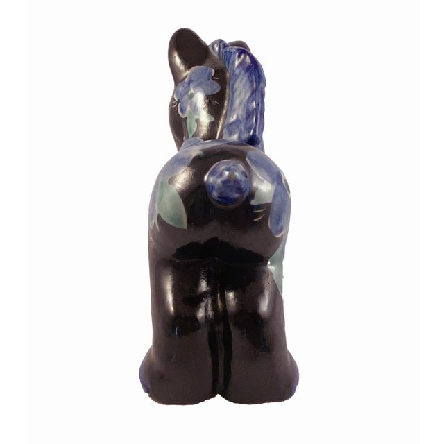 Studio Art Pottery Donkey Blue Floral on Black For Sale - Image 4 of 8