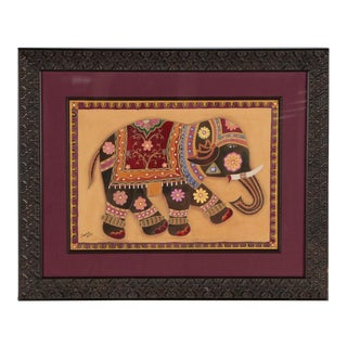 Kalamkari Style Painting on Silk For Sale