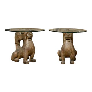 Dramatic Pair of Hand-Carved Foo Dog Tables by Sarreid Ltd
