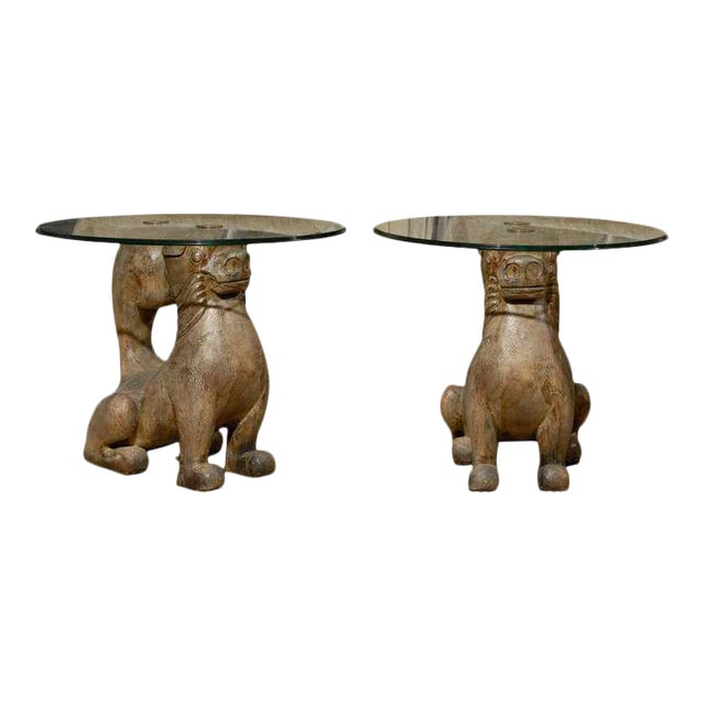 Dramatic Pair of Hand-Carved Foo Dog Tables by Sarreid Ltd For Sale