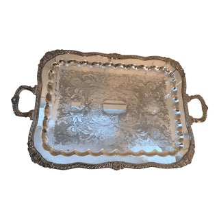 Vintage Silver Plate on Copper Tray For Sale