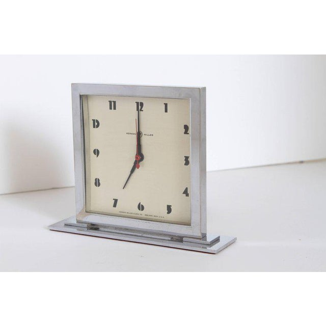 Silver Machine Age Art Deco Gilbert Rohde for Herman Miller Original Working Clock For Sale - Image 8 of 11