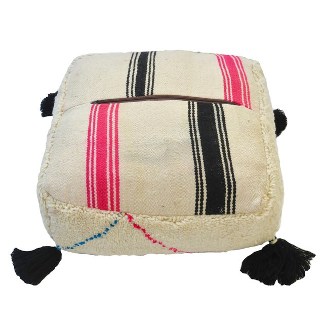 Textile Oversized Moroccan Floor Pouf For Sale - Image 7 of 7