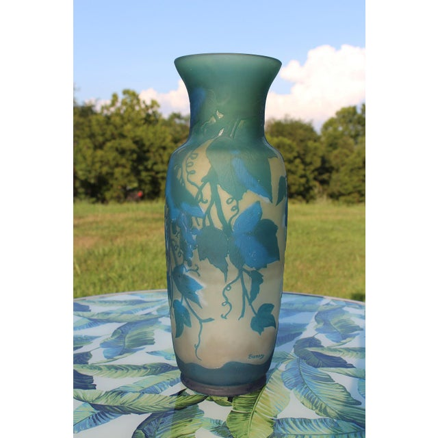 Early 20th Century French Turquoise Blue and White Cameo Glass Vase, Signed For Sale - Image 5 of 12