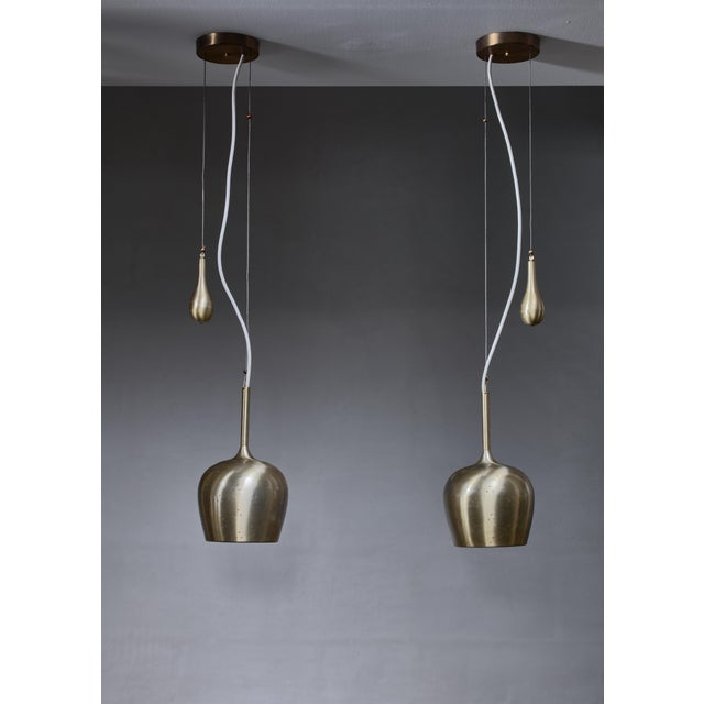 Mid-Century Modern Pair of Paavo Tynell Bell Chandeliers With Counterweight For Sale - Image 3 of 5