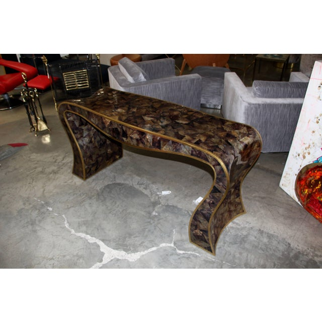 Brown Maitland-Smith Tessellated Horn and Brass Trimmed Sculptural Console Table For Sale - Image 8 of 8