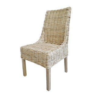 White Wash Wicker Dining Chair For Sale