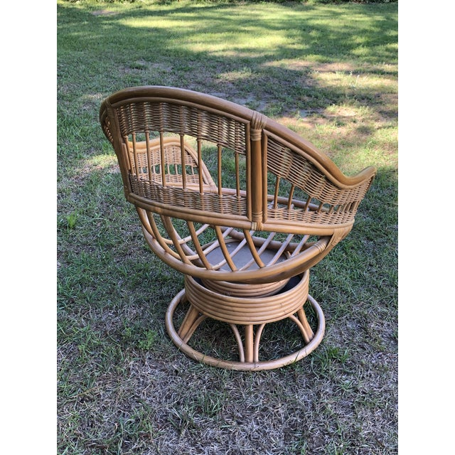 Boho Chic 1970s Vintage Rattan Swivel Egg Chair For Sale - Image 3 of 6