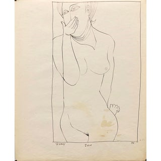 """Donald Stacy """"Joke"""" 1951 Ink Mid Century Female Nude Drawing For Sale"""