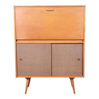 Paul McCobb Planner Group Mid-Century Modern Drop Front Desk With Sliding Door Credenza, 1950s For Sale
