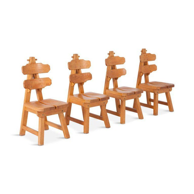 Brutalist Oak Spanish Dining Chairs For Sale - Image 6 of 13