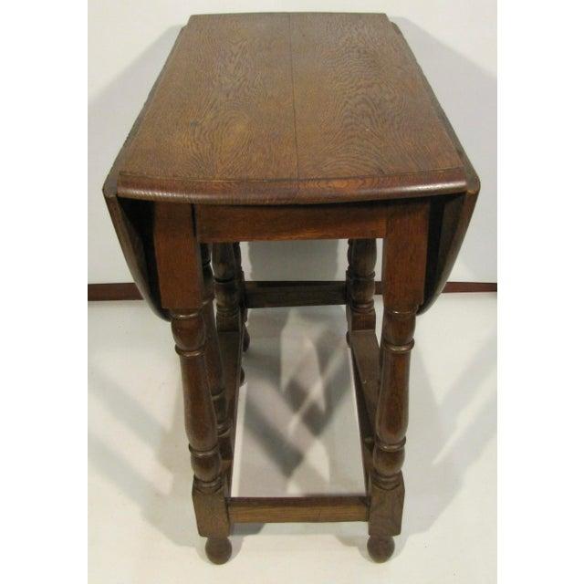 1920s Edwardian Drop Leaf Oak Table For Sale - Image 4 of 6