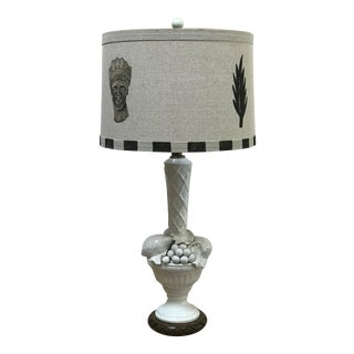 """Diana"" Shade by Rf. Alvarez With Vintage Blanc De Chine Base Table Lamp For Sale"
