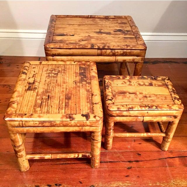Vintage Tortoise Burnt Bamboo Nesting Stools - Set of 3 - Image 5 of 9