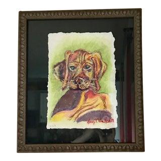 """""""Vizsla Puppy Dog"""" 14"""" x 16"""" Original Oil Pastel Painting For Sale"""