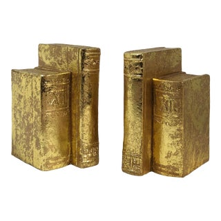 "Vintage 1995 Gold ""Books"" Bookends - a Pair For Sale"