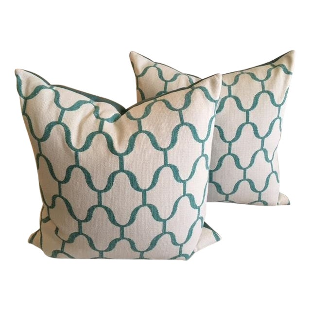 Custom Turquoise Moroccan Trellis Pillows - Pair - Image 1 of 5
