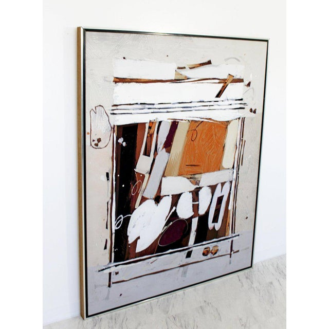Abstract Mid-Century Modern Ray Frost Fleming Abstract Acrylic on Canvas Painting Orange For Sale - Image 3 of 8