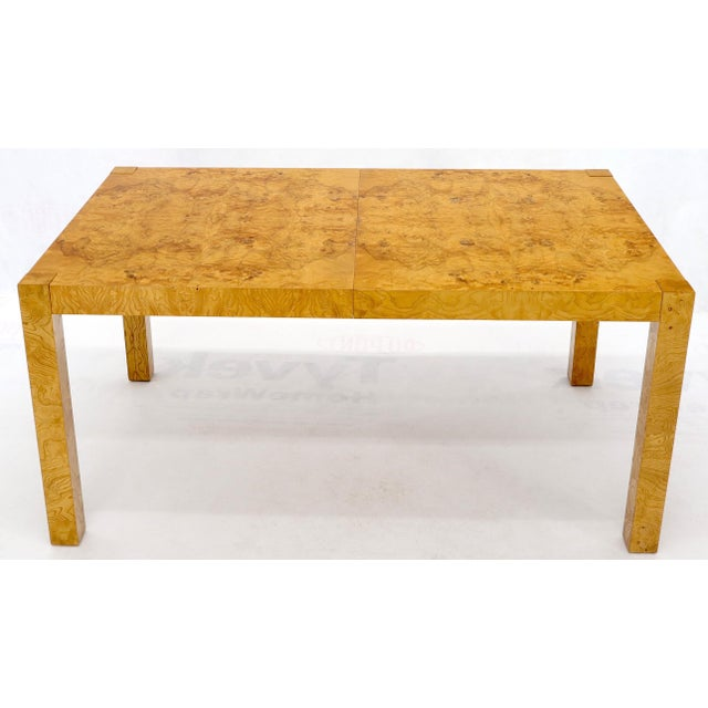 Mid 20th Century Rectangle Shape Burl Wood Dining Room Table with Two Extension Leaves Boards For Sale - Image 5 of 12