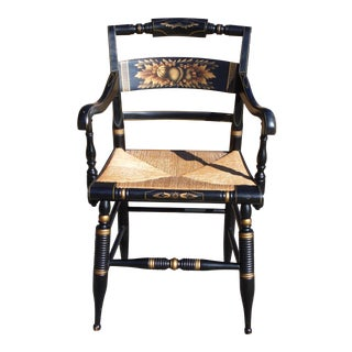 Vintage Pillow Back Hitchcock Harvest Stenciled Rush Seat Dining Arm Chair For Sale