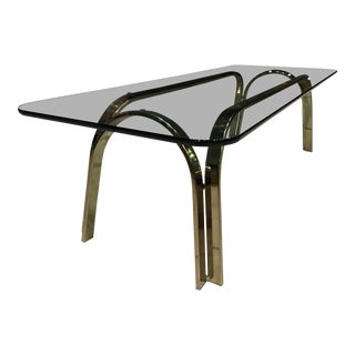 Brass and Thick Glass Low Long Table After Roger Sprunger For Sale