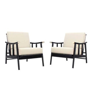 Pair of Faux Bamboo Lounge Chairs New Upholstery For Sale