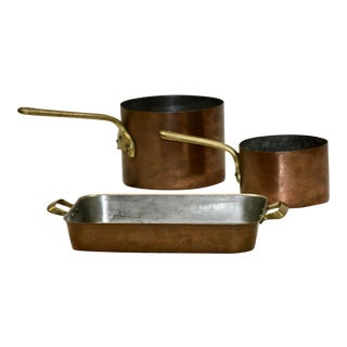 1920s Brass and Copper Pots - Set of 3 For Sale