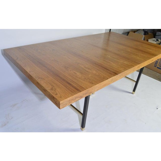 Mid-Century Modern Harvey Probber Rosewood and Mahogany Dining Table With Brass Accents For Sale - Image 3 of 8