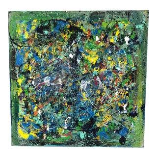 1993 Colorful Abstract Oil on Canvas Painting - Signed For Sale