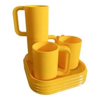 1970s Vintage Ingrid Yellow Plastic Mugs & Plates - Set of 8 For Sale