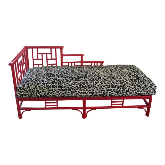 Chinese Chippendale Rattan Chaise - Image 1 of 10