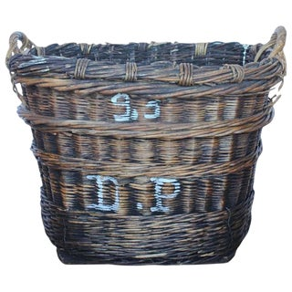 Large French Vineyard Harvest Wicker Basket For Sale