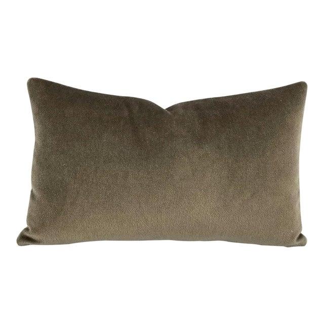 F. Schumacher Palermo Mohair Velvet Thyme Lumbar Pillow Cover For Sale