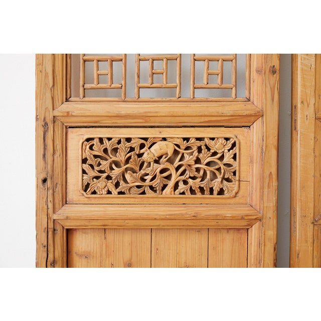 Pair of Chinese Carved Doors With Lattice Windows For Sale - Image 10 of 13
