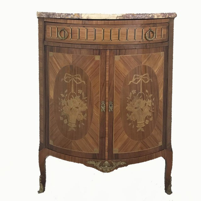 19th Century French Louis XVI Marquetry Marble Top Corner Cabinet For Sale - Image 13 of 13