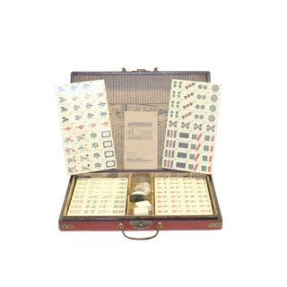 Chinese Handmade Red Vinyl Box Regular Size Mahjong Tiles Set For Sale