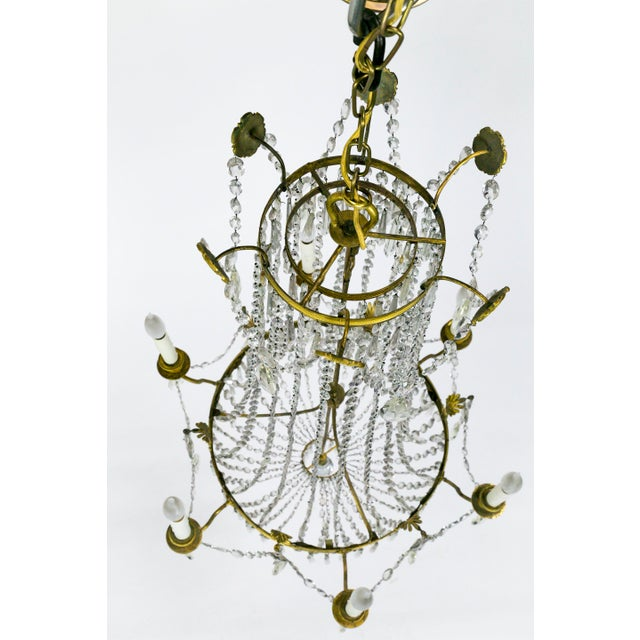 1920s Regency Tent and Bag Crystal Brass Chandelier For Sale - Image 10 of 11