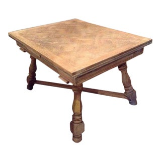 French Provincial Dining Parquet Table Limed France C. 1920 For Sale