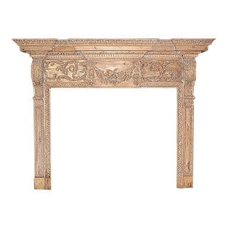 Late 19th Century Georgian Style Ornately Carved Wood Mantel For Sale