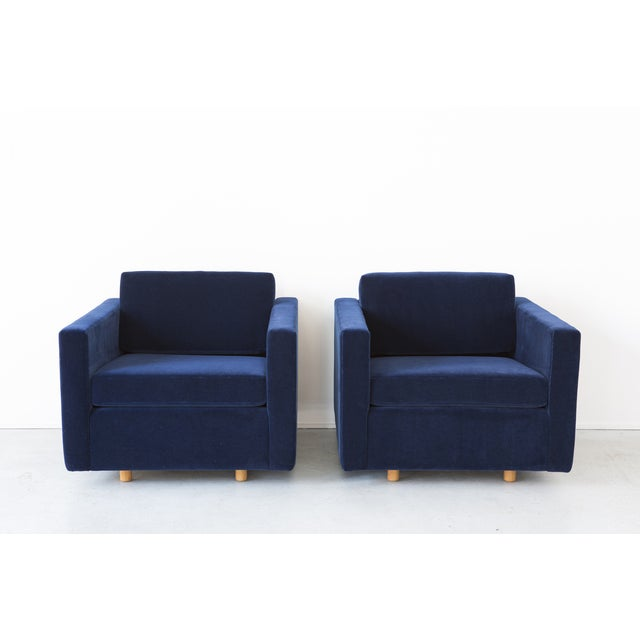 Jack Cartwright Blue Mohair Cube Chairs - Pair - Image 2 of 11