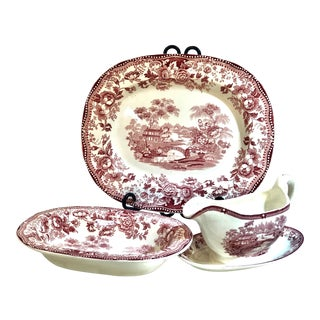 Vintage Royal Staffordshire Red Tonquin Dinnerware - Set of 3 For Sale