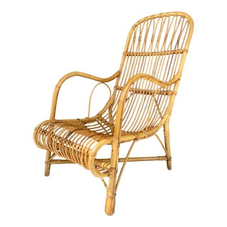 1960's Italian Bamboo Lounge Chair For Sale