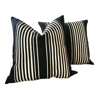 "Ralph Lauren ""Joaquin"" in Kohl Black and White Striped Pillows - a Pair For Sale"