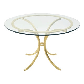 French Mid-Century Roger Thibier Gilt Wrought Iron Gold Leaf Glass Dining Table 1960s For Sale